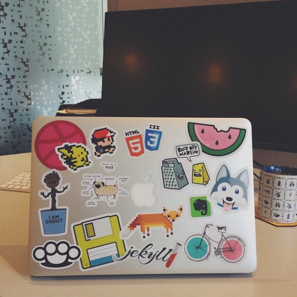 My Macbook Air with a ton of stickers