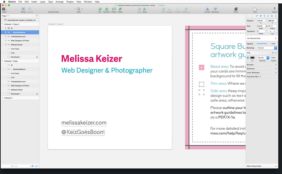 Designing my business cards in Sketch